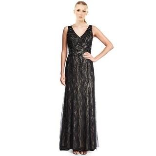 Aidan Mattox Beaded Lace Sleeveless V-Neck Formal Evening Gown Dress - 6