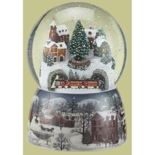 "6.75"" Musical Winter Village Scene with Revolving Train Christmas Glitterdome - Set of 2"