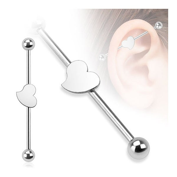 Heart 316L Surgical Steel Industrial Barbell (Sold Individually)