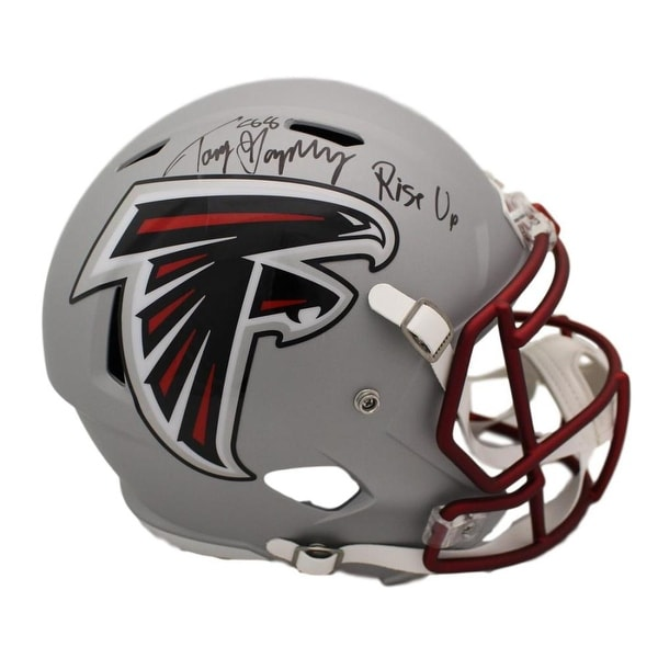 competitive price 143fb 95713 Tony Gonzalez Autographed Atlanta Falcons Blaze Replica Helmet Rise Up JSA