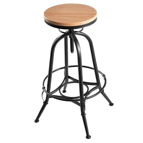 Vintage Bar Stool Adjustable Seat Height Counter Top Chair: Shop Costway Vintage Bar Stool Metal Frame Wood Top