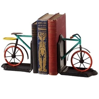"""Set of 2 Green and Red Cast Iron Colorful Bicycle Bookend Pair 10"""""""