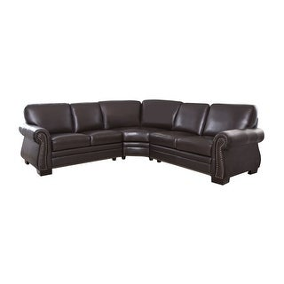 Link to Abbyson Oxford Brown Top Grain Leather Sectional Sofa Similar Items in Living Room Furniture