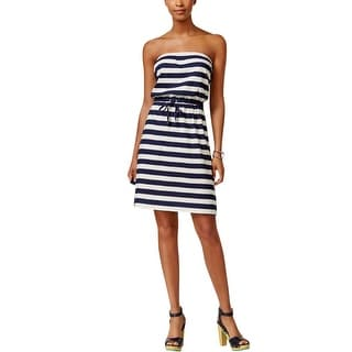 Tommy Hilfiger Womens Casual Dress Striped Strapless