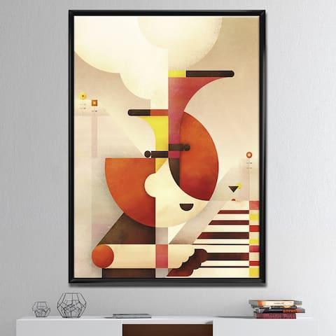 Designart 'All That Jazz' Mid-Century Modern Premium Framed Canvas Wall Art