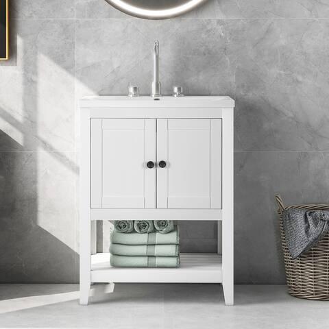 Modern Sleek White Bathroom Ceramic Sink Vanity with Solid Wood