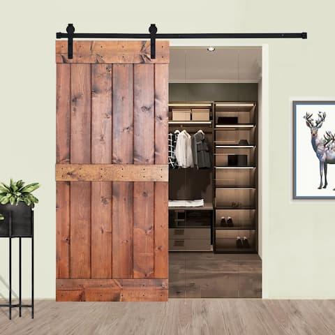 Paneled Wood Barn Door with Installation Hardware Kit - K1 Series