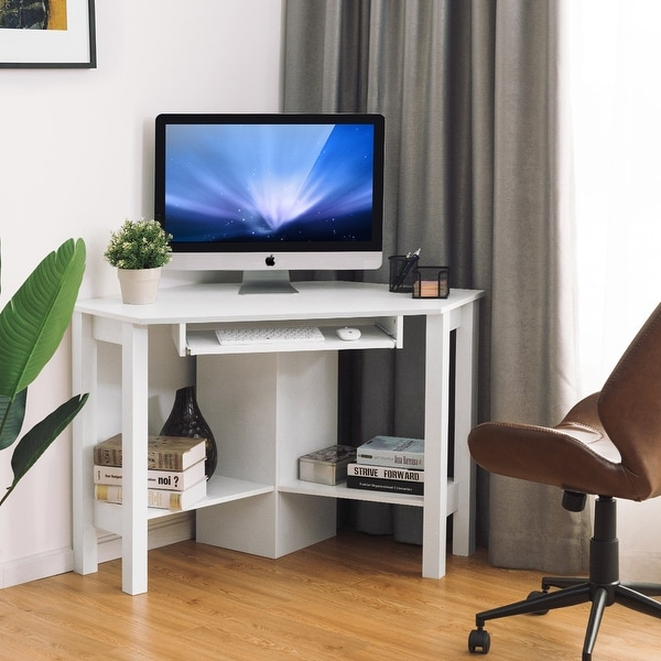 Wooden Corner Computer Desk with Drawer Office Study Table. Opens flyout.