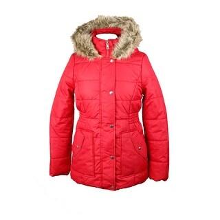 Krush Red Faux-Fur-Trim Hooded Puffer Coat L