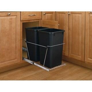 "Rev-A-Shelf RV-15KD-C S RV Series Bottom Mount Double Bin 19.25"" Tall Trash Can with Full Extension Slides - 27 Quart Capacity"
