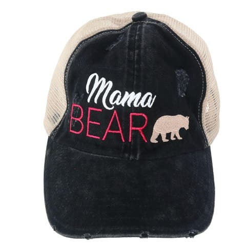 David & Young Women's Distressed Mama Bear Embroidered Baseball Cap