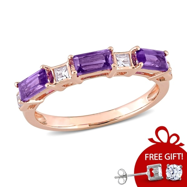 Miadora 10k Rose Gold Baguette & Square Amethyst & White Topaz Stackable Eternity Wedding Band Ring. Opens flyout.