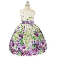 Kids Dream Little Girls Lavender Flower Print Sash Easter Dress 2T-12