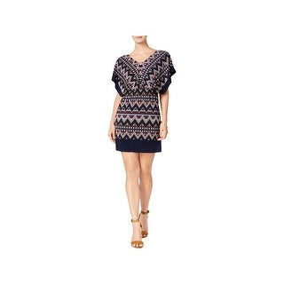 Sangria Womens Petites Mini Dress Printed Blouson