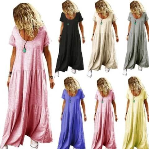 Bohemian Short Sleeve Maxi Dress