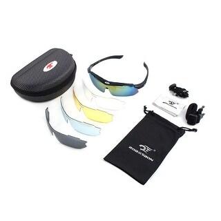 ROBESBON Authorized Temple Demountable Polarized Lens Cycling Glasses Black Set