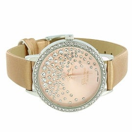 Womens Geneva Watch Gold Leather Band Lab Diamonds Classy Look Analog Display Stainless Steel Back