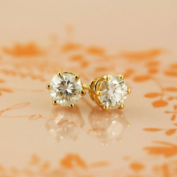 Auriya 1ctw Round Moissanite Stud Earrings 14k Gold - 5 mm. Opens flyout.