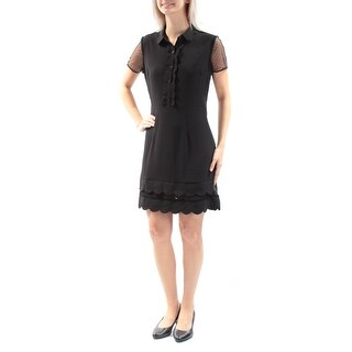MAISON JULES $100 Womens New 1006 Black Scalloped Short Sleeve Dress S B+B