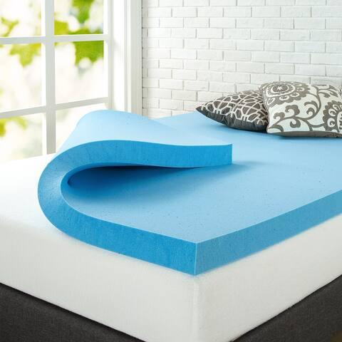 Priage by ZINUS 3 Inch Green Tea Cooling Gel Memory Foam Mattress Topper - Blue