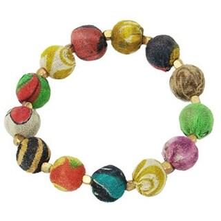 Handmade Kantha Bauble Bead Bracelet (India)