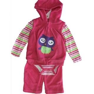 Buster Brown Baby Girls Pink Striped Bodysuit Zipper Vest 3 Pc Pants Set 12-24M
