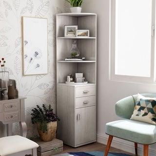 Link to Furniture of America Colvain Modern 3-shelf Corner Bookcase Similar Items in Living Room Furniture
