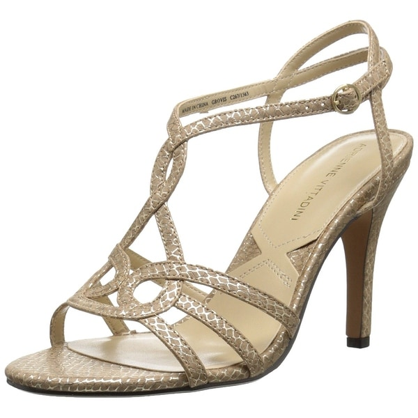 Adrienne Vittadini Womens Grovis Open Toe Casual Ankle Strap Taupe Size 70