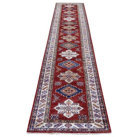 """Shahbanu Rugs Deep Red Super Kazak with Colorful Geometric Medallions Hand Knotted Soft Wool Runner Oriental Rug (2'7""""x13'3"""")"""