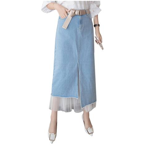 QZUnique A-line Long Lace Asymmetrical Hem Jean Skirt Maxi Pencil Denim Skirt