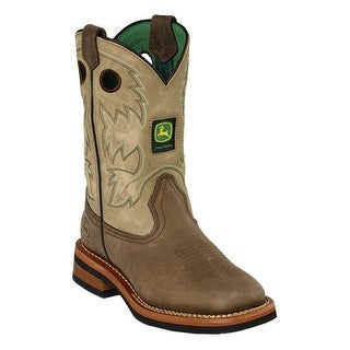 John Deere Boys Girls Tan Top Leather Toddler Boots 8.5-10.5