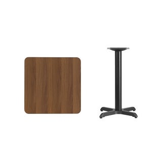 """Offex 24"""" Square Walnut Laminate Table Top with 22"""" x 22"""" Table Height Base"""