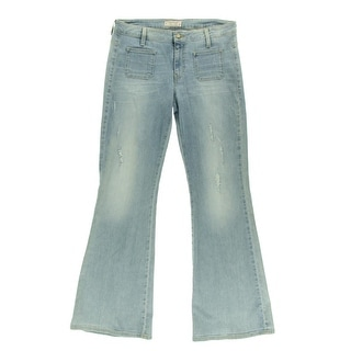 Guess Jeans Womens Flare Jeans Denim Distressed