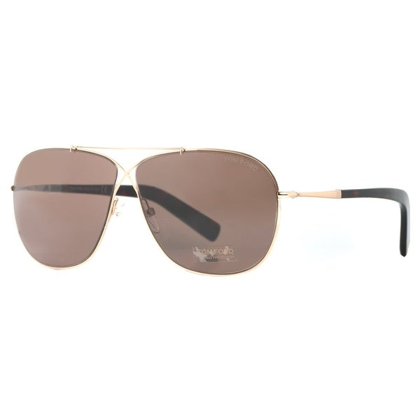 Tom Ford April TF393 28J Gold/Havana Gradient Brown Aviator Sunglasses - rose gold - 61mm-10mm-145mm