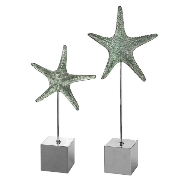 "Set of 2 Gray Realistic Starfish Sculpture with Stand 24"" - N/A"