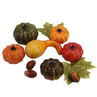 11-PC Autumn Harvest Artificial Pumpkin, Gourd, Acorn and Leaf Decoration Set