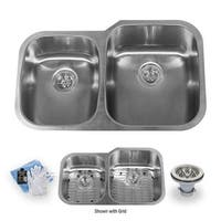 "Miseno MSS3220C4060 32"" Undermount Double Basin Stainless Steel Kitchen Sink with 40/60 Split - Drain Assemblies, Basin Racks"
