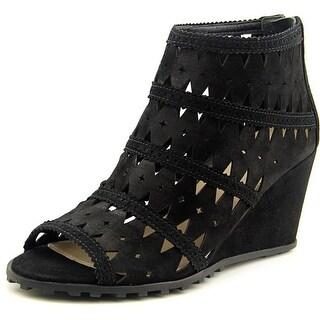Via Spiga Latanya Women Open Toe Suede Black Wedge Sandal