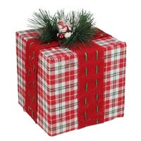"""8"""" Red and Green Plaid Square Gift Box with Pine Bow Table Top Christmas Accent"""