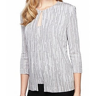 Alex Evenings NEW Silver Black Glitter Women Small S Jacket Twinset