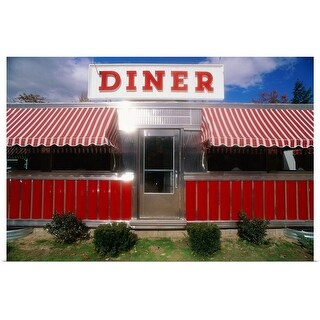 Poster Print entitled Shiny diner with striped awnings, New York State - multi-color