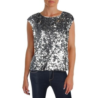 Vince Camuto Womens Petites Dress Top Sparkle Short Sleeve