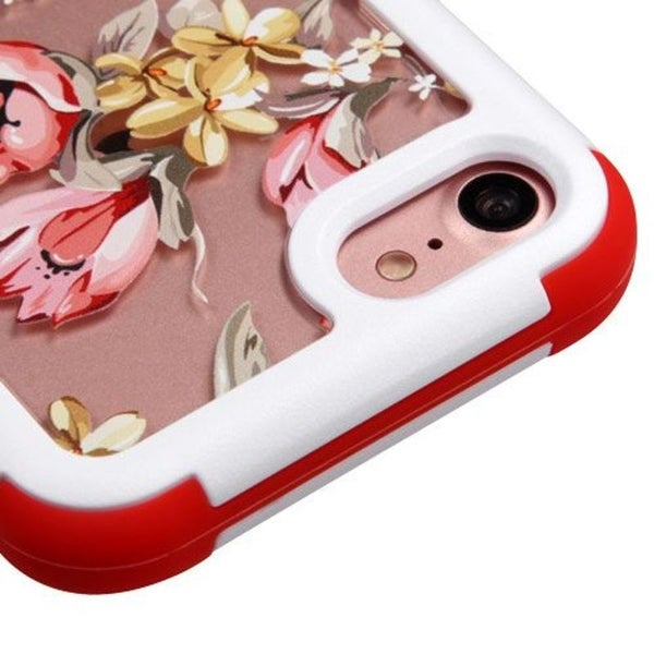 Insten Pink/ White Flowers Hard PC/ Silicone Dual Layer Hybrid Rubberized Matte Case Cover For Apple iPhone 7