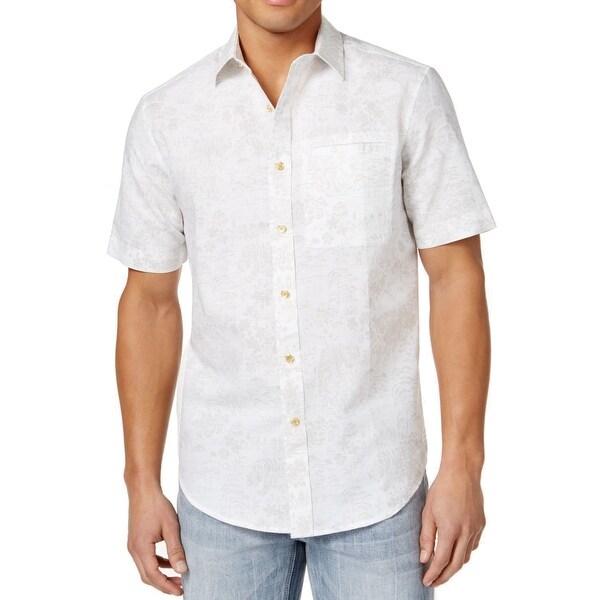 Shop Sean John White Mens Size 4XL Printed Linen Button Down Shirt - Free  Shipping On Orders Over  45 - Overstock - 22254486 5a9aa0da301e7