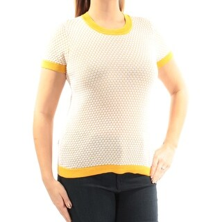 MAISON JULES $60 Womens New 1435 Yellow Geometric Short Sleeve Sweater L B+B