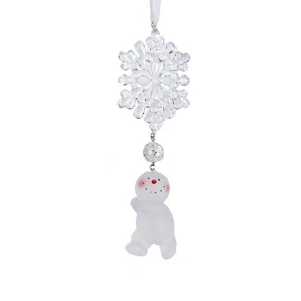 """5.75"""" Decorative Clear Snowflake With Hanging Run Snowman Christmas Ornament"""