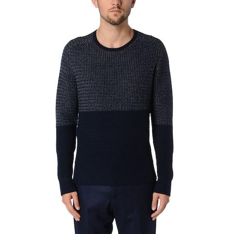 Hardy Amies London Navy Blue & Grey Wool Crewneck Knit Sweater X-Large XL Jumper