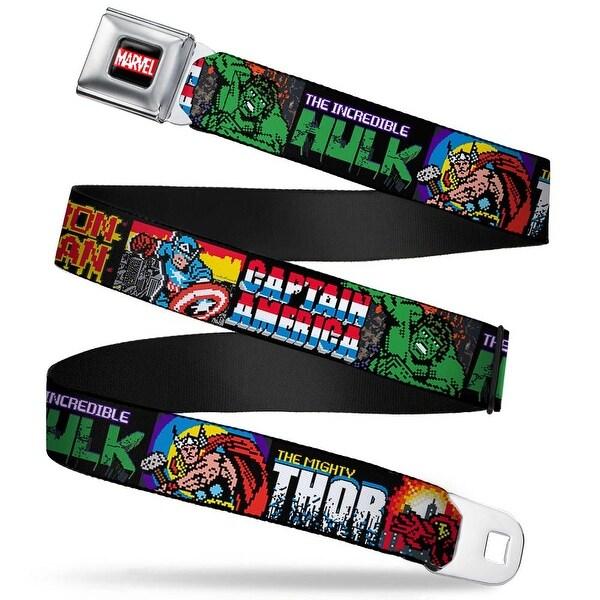 Marvel Comics Marvel 8 Bit Logo Full Color Black Red White 4 Superhero 8 Seatbelt Belt