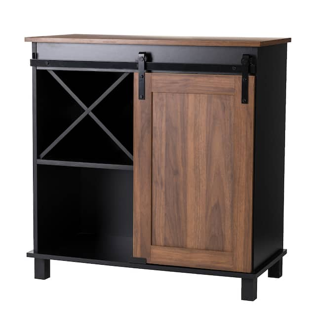 """Glitzhome 31.50""""L Modern Industrial Wine Cabinet Buffet Sideboard with Sliding Door"""