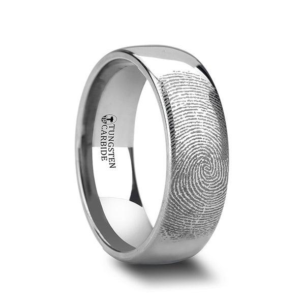 Fingerprint Engraved Domed Tungsten Ring Polished Dominus